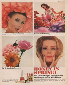 1965 Max Factor makeup cosmetic print ad Honey is by Vividiom, $8.00