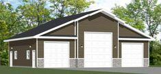 PDF house plans, garage plans, & shed plans. Garage Building Plans, Rv Garage Plans, Garage Plans With Loft, House Plan With Loft, Garage Loft, Modern House Plans, Car Garage, Metal Shop Building, Steel Garage