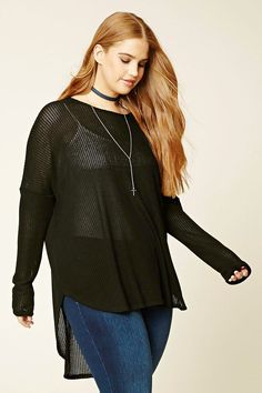 Forever 21+ - A knit top featuring a high-low oversized silhouette, a round neckline, long dolman sleeves, and a round hem.