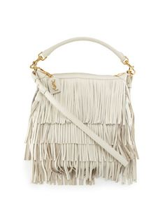 clutch bag ysl - emmanuelle tricolor fringe bucket bag, red/pink/purple