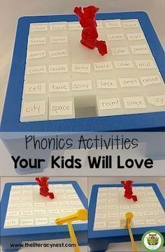 Phonics Activities Your Kids Will Love – The Literacy Nest Phonics Activities Your Kids Will Love: Fun Phonics Games to play over and over! Great to use with your elementary school classroom or homeschool students. The Literacy Nest Literacy Games, Kindergarten Activities, Literacy Centers, Fun Phonics Activities, Listening Activities, Vocabulary Games, Literacy Stations, Letter Activities, Montessori Activities