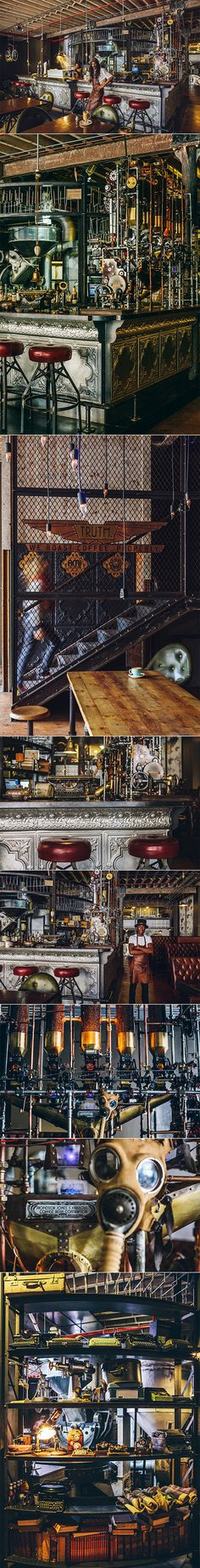 This radically designed steampunk-themed coffee shop was created by Heldane Martin who considered the form factor of espresso machines and coffee roasters to be somewhat similar to the Victorian futuristic fantasy style found in the aesthetic of steampunk. The hope was also to personify Truth's attempt at roasting the very best coffee by offering a perfectly executed space.