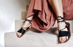 Black leather lace up sandal