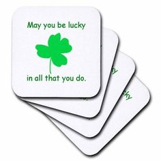 3dRose May you be lucky in all that you do Green Shamrock, Soft Coasters, set of 4