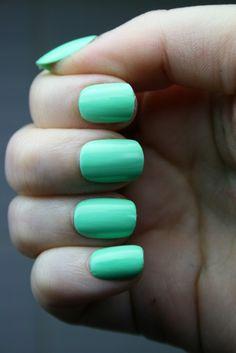 bright mint nails.