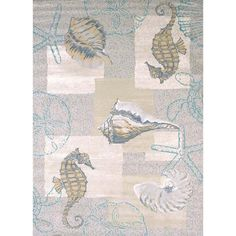 """Westfield Home Structures Seahorse & Shell Area Rug (5'3 x 7'2) (Seahorse & Shell Natural Area Rug (5'3"""" x 7'2"""")), Blue (Olefin, Coastal)"""