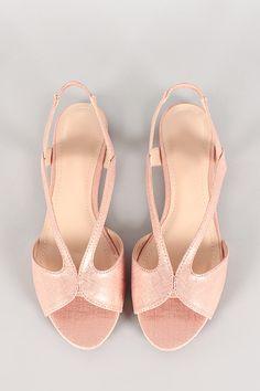 Metallic Strappy Open Toe Slingback Flat Sandal