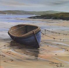 Beached Boat Barra - Fine art originals - The Global Art Company Ray Caesar, Nautical Christmas, Global Art, Ocean Life, Landscape Art, Canvas Frame, Watercolour, Originals, Original Paintings