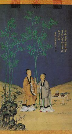 《平安春信图》清 郎世宁 绢本设色 纵68.8厘米 横40.6厘米北京故宫博物院藏 郎世宁画风写实,工整富丽,兼具中西绘画之风。虽然并未在清代蔚然成风,却也吸引了很多人竞相模仿。《平安春信图》中人物写实,动作略嫌呆板,却有西画的凹凸感和体面感。画中几案树石参用中国花鸟画法,画风靡丽而略显滞闷。