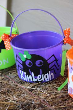 Small personalized spider bucket. $10.00. Spider bucket.
