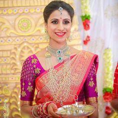 Uppada saree with handwork designer blouse whatsapp 9047090885 tanvika sarees - Her Crochet Wedding Saree Blouse Designs, Pattu Saree Blouse Designs, Fancy Blouse Designs, Chiffon Saree, Silk Sarees, Models, Work Blouse, Gold Jewelry, Gold Necklaces