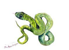 Snake Original watercolor painting green snake by ORIGINALONLY, $25.00