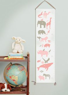 Pink and gray canvas growth chart.  Alphabet animals.  Perfect for a little girl's room!