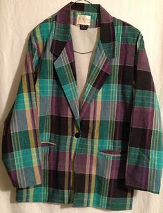 VINTAGE Womens Adolfo Royalty Collection Jacket Check Plaid Purple SZ Small EUC