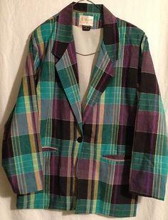 VINTAGE Womens Adolfo Royalty Collection Jacket Check Plaid Purple SZ Small EUC