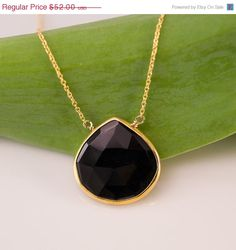 Valentines Day Sale  Black Onyx Necklace  14k Gold by delezhen, $46.28