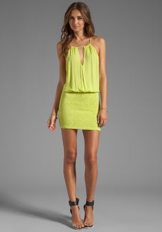 INDAH Canoa Blouson Cut Away Smocked Mini Dress in Citrus - Indah