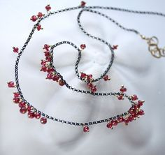 AAA Red Spinel Oxidized Sterling Gold Necklace - Bagatelle.