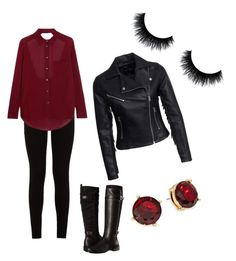 """Red&Black outfit"" by szabo-dominika on Polyvore featuring 7 For All Mankind, Haute Hippie, Aerosoles, New Look and Lauren Ralph Lauren"