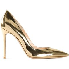 Gianvito Rossi Metallic Pointed Pump ($695) ❤ liked on Polyvore featuring shoes, pumps, all shoes, kirna zabete, pointed toe pumps, metallic gold shoes, stiletto pumps, metallic gold pumps and pointy toe stilettos