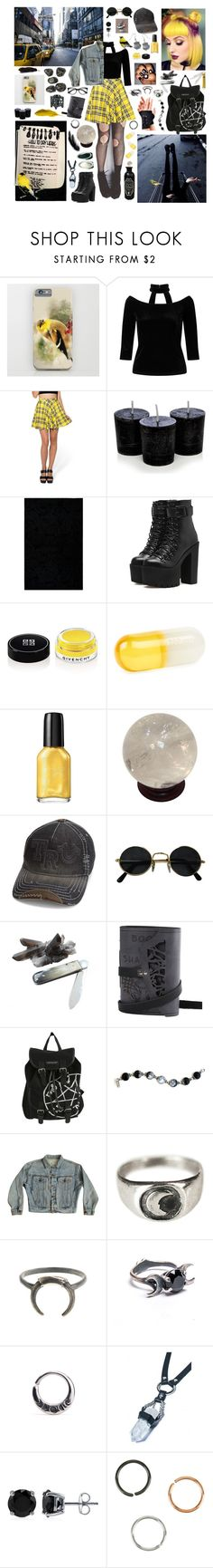 """""""Goldfinch Witch"""" by valaquenta ❤ liked on Polyvore featuring Miss Selfridge, Kate Spade, Nemesis, Givenchy, Jonathan Adler, Sally Hansen, True Religion, Roost, Hot Topic and Jordache"""