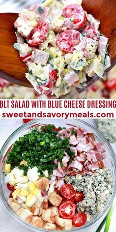This BLT Salad recipe is fresh, crispy, and super delicious. #bltsalad #bluecheese #salad #30minutesmeals