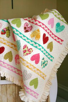 Valentine Candy Heart Quilt Tutorial - sew-whats-new.com