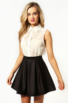 Alice Sleeveless Shirt With Lace Detail at boohoo.com  Love this blouse. The skirt is cute too!