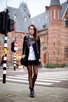 7 ways to wear polka dot tights - my version: denim button up shirt, short simple skirt, (style of) chloe suzannes