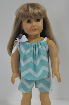 American Girl Doll Clothes  Turquioise Chevron by CircleCSewing