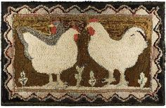 Rooster and Hens. 19th Century wool hooked rug.