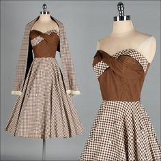 Vintage 1950s Dress  Brown Ivory Checked by millstreetvintage, $215.00