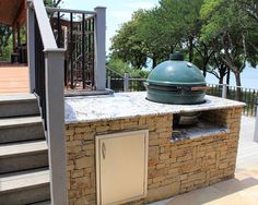 Custom Design Outdoor Living Area Dallas, TX - contemporary - patio - dallas - One Specialty Landscape Design, Pools & Hardscape big green egg Big Green Egg Outdoor Kitchen, Big Green Egg Table, Green Eggs, Outside Living, Outdoor Living Areas, Outdoor Retreat, Outdoor Decor, Outdoor Ideas, Contemporary Patio
