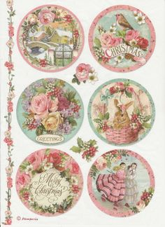Rice Paper -Pink Christmas Balls - for Decoupage Scrapbook Craft Vintage Cards, Vintage Paper, Vintage Images, Vintage Postcards, Decoupage Vintage, Pink Christmas, Vintage Christmas, Christmas Balls, Christmas Fabric