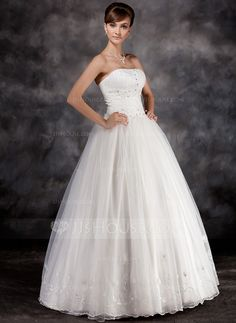 Ball-Gown Strapless Floor-Length Organza Charmeuse Wedding Dress With Ruffle Beading Appliques Lace (002016939) - JJsHouse