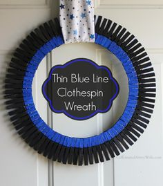Law Enforcement Clothespin Wreath, Thin Blue Line Colors… Wreath Crafts, Diy Wreath, Clothespin Crafts, Wreath Ideas, Wreath Making, Police Crafts, Clothes Pin Wreath, Thin Blue Lines, Cute Crafts