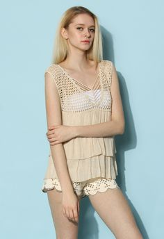 Tiered Crochet Tank Top - Tops - Retro, Indie and Unique Fashion