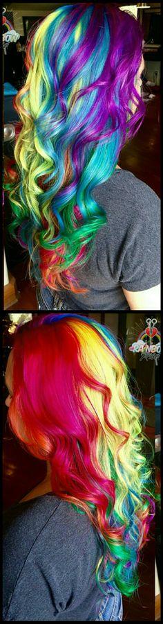Rainbow dyed hair @rainbowrage