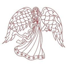 Sweet Heirloom Embroidery Design: Redwork Angel 3.21 inches H x 3.80 inches W