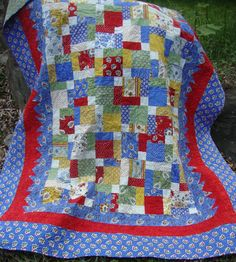 Twin Bed Quilt Patchwork Moda A Breath of by MaryMackMadeMine, $325.00