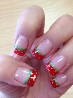 Strawberry nail design, Strawberry french tips