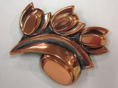 Retro Vintage Copper Tulip Brooch Pin