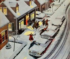 Vintage Illustration Party After Snowfall, art by Ben Kimberly Prins. Detail from February 1955 Saturday Evening Post cover. Christmas Scenes, Christmas Past, Winter Christmas, Vintage Christmas Cards, Retro Christmas, Vintage Holiday, Illustration Noel, Christmas Illustration, Retro Art