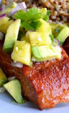 Chipotle Grilled Salmon with Pineapple Avocado Salsa - Taste Love and Nourish Salmon Dishes, Fish Dishes, Seafood Dishes, Fish And Seafood, Salmon Recipes, Fish Recipes, Seafood Recipes, Tilapia Recipes, Orange Recipes
