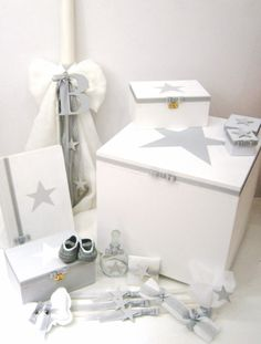 """Handcrafted """"Star"""" baptism series at www. Christening Decorations, Baby Boy Christening, Baptism Invitations, Diy Toys, Toys For Boys, Floating Nightstand, Cool Kids, Decorative Boxes, Diy Projects"""