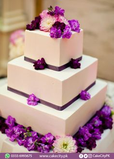 Simple Chic Wedding Cakes We Love Bridalguide Wedding Cake Pictures Square Wedding Cakes, Purple Wedding Cakes, Amazing Wedding Cakes, Elegant Wedding Cakes, Wedding Cake Designs, Wedding Cake Toppers, Wedding Colors, Square Cakes, Cake Wedding