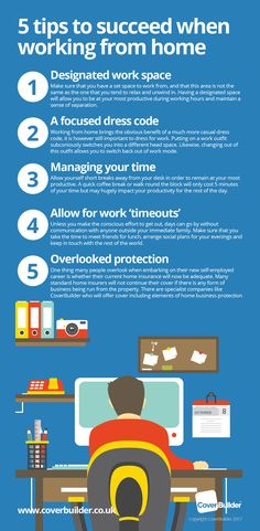 Infographic for home workers and home business owners. 5 awesome tips to be a successful home worker in 2017. The infographic highlights the importance of having the correct balance of work/home life and also the need for the correct home insurance to be in place. #infographic #home #business #tips