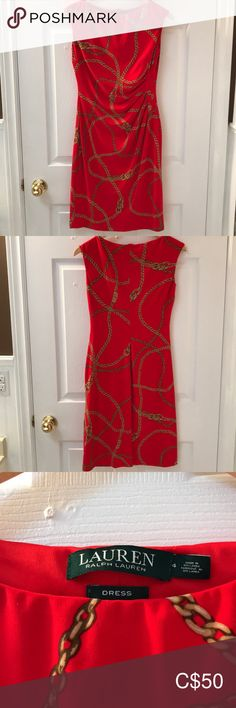 Red Ralph Lauren dress with chain print This red Ralph Lauren dress is perfect for the office or cocktail hour! The chain print is classic Ralph Lauren. Hits just above the knee (I'm and was only worn once. Plus Fashion, Fashion Tips, Fashion Trends, Cocktail, Ralph Lauren, Chain, Formal Dresses, Classic, Red