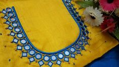 Mirror work dress designs, Mirror work suit neck designs, mirror work dresses in Pakistan, unique mirror work on kurti, blouse and trousers Cutwork Blouse Designs, Simple Blouse Designs, Embroidery Neck Designs, Embroidery Works, Hand Embroidery, Dress Designs, Mirror Work Saree Blouse, Mirror Work Dress, Mirror Work Blouse Design