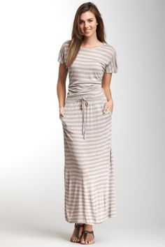 Rose Gold Short Sleeve Maxi Dress by Purity, Rose Gold & More on @HauteLook